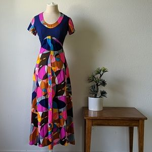 Vintage 70s maxi dress geometric psychedelic color